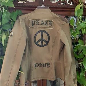 Jean jacket peace sign on back and sleeve